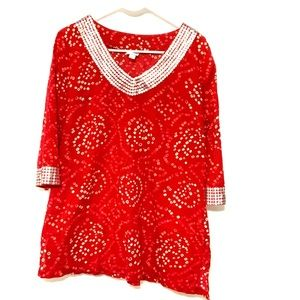 Calypso St. Barth red tunic sequins neckline
